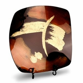 Brown & Gold Paint Stroke Design Round Fused Glass Platter Charger