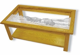 Solid Oak Rectangle Coffee Table with Etched Glass Buffalo Top