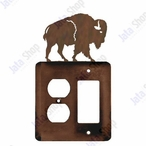 Buffalo Double Metal Outlet Cover with Single Rocker