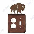 Buffalo Double Metal Outlet Cover with Single Toggle