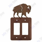 Buffalo Double Rocker Metal Switch Plate Cover