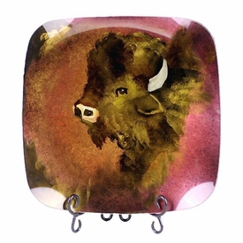 Buffalo Head Fused Glass Square Plate with Ball Legs