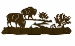 Buffalo on the Range Scene Six Hook Metal Wall Coat Rack