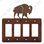 Buffalo Quad Rocker Metal Switch Plate Cover