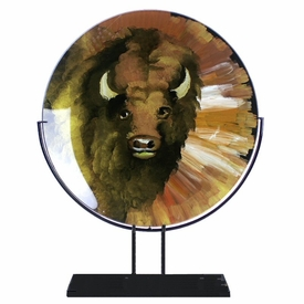 Buffalo Round Fused Glass Platter Charger