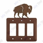 Buffalo Triple Rocker Metal Switch Plate Cover