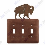Buffalo Triple Toggle Metal Switch Plate Cover