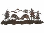 Bull Elk Fighting Five Hook Metal Wall Coat Rack