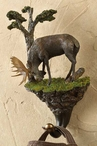 Bull Moose Hand Painted Sculpted Single Wall Hooks, Set of 3
