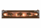 Burnished Buffalo Herd on the Range Six Light Metal Vanity Light