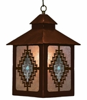 Burnished Desert Diamond with Turquoise Metal Lantern Pendant Light