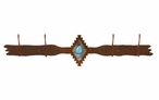 Burnished Desert Diamond w/ Turquoise Stone Four Hook Wall Coat Rack