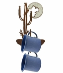 Burnished Desert Moon Metal Mug Holder Wall Rack