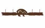 Burnished Fetish Bear Four Hook Metal Wall Coat Rack