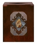 Burnished Picture Jasper Stone Metal Boutique Tissue Box Cover