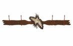 Burnished Pine Cones Four Hook Metal Wall Coat Rack