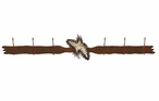 Burnished Pine Cones Six Hook Metal Wall Coat Rack