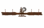 Burnished Pine Trees and Moon Four Hook Metal Wall Coat Rack