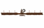 Burnished Pine Trees and Moon Six Hook Metal Wall Coat Rack