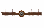 Burnished Round Old Silver Berry Concho Four Hook Metal Wall Coat Rack