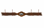 Burnished Sunburst Concho Four Hook Metal Wall Coat Rack