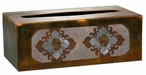 Burnished Unakite Stone Metal Flat Tissue Box Cover