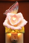Butterfly with Rose Flower Porcelain Night Lights, Set of 2