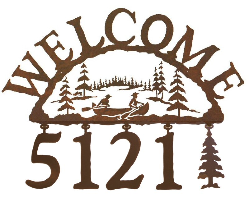 Canoe Metal Address Welcome Sign - Rustic Outdoor Wall Decor