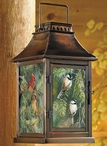 Cardinal & Chickadee Birds in a Pine Tree Metal & Glass Candle Lantern