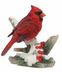 Cardinal Perching on a Snowy Branch Bird Sculpture