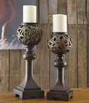 Cheyenne Pillar Candle Holders, Set of 2