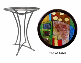 Childhood Memories Fused Glass Metal Table