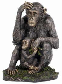 Chimpanzee and Baby Chimpanzee Bronze Sculpture