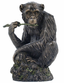 Chimpanzee Chewing Tree Branch Bronze Sculpture