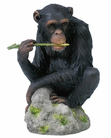 Chimpanzee Chewing Tree Branch Sculpture