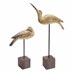Coastal Birds on Tall Stand Sculptures, Set of 2