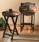 Comforts of Home Tray Tables with Stand, Set of 2