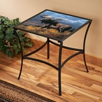 Copper Moose Metal Accent Table with Glass Top