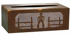 Cowboy Metal Flat Tissue Box Cover