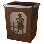 Cowgirl Metal Wastebasket Trash Can