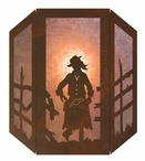 Cowgirl Three Panel Metal Wall Sconce