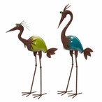 Crane Bird Garden Sculptures, Set of 2
