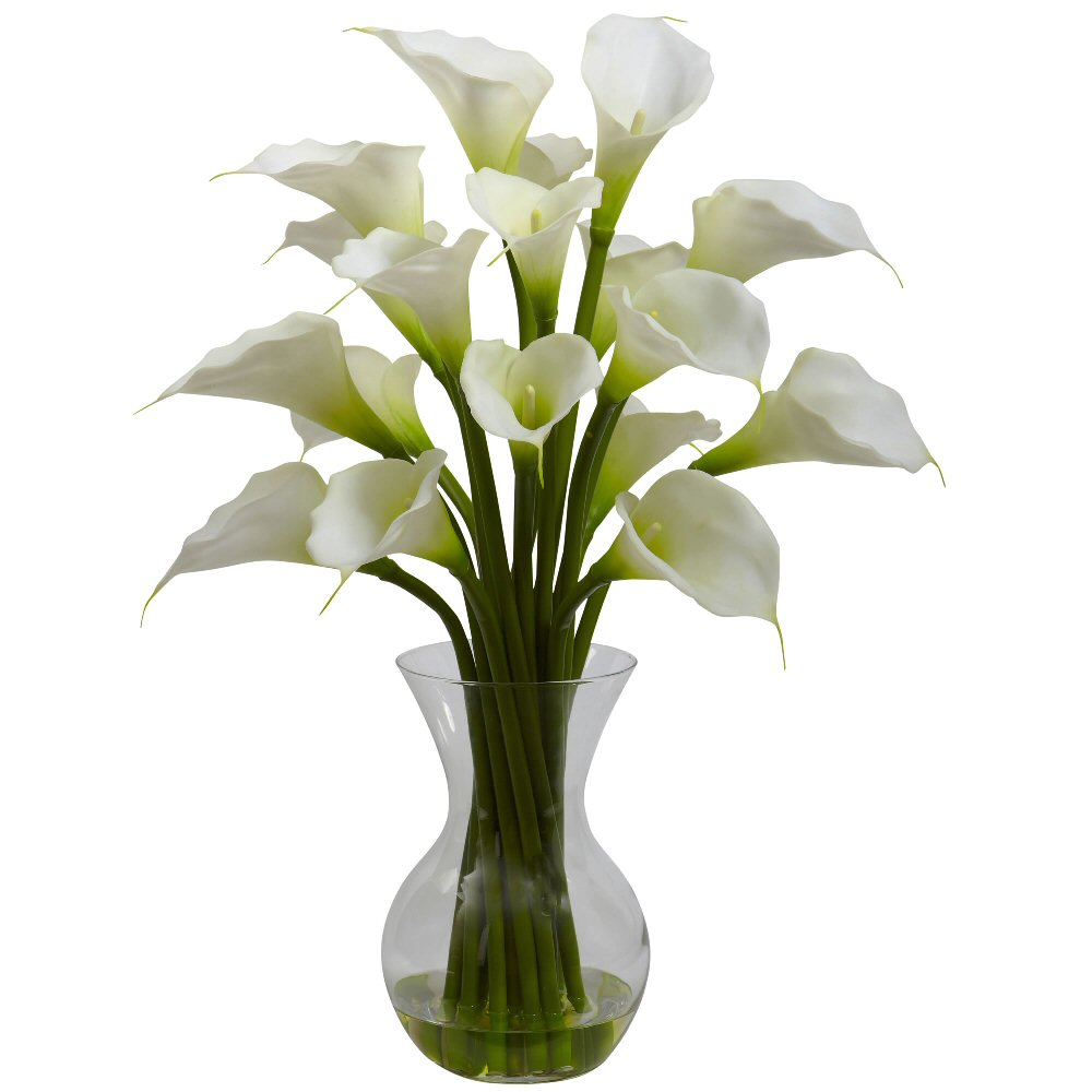 Cream galla calla lily silk flower arrangement with vase - Flower arrangements for vases ...