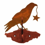 Crow Bird Double Metal Wall Hook