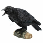 Crow Bird Standing on a Small Log Sculpture