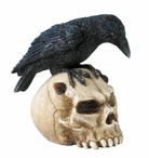 Crow on Devil Skull Bird Sculpture