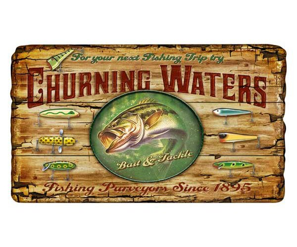 vintage metal fishing and tractor signs