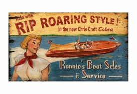 Custom Large Chris Craft Boat Sales Vintage Style Wooden Sign