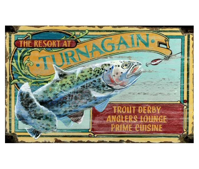 Customizable Trout Fishing Resort Vintage Style Wooden