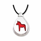 Dalecarlia Horse Crystal Necklace with Silver Cap By Mats Jonasson